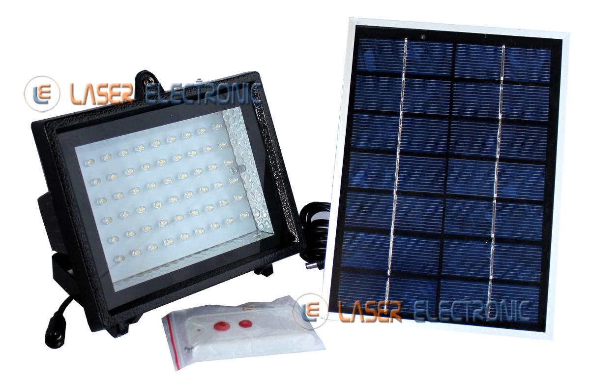 Faretto led 60 smd 10w con pannello solare e telecomando laser