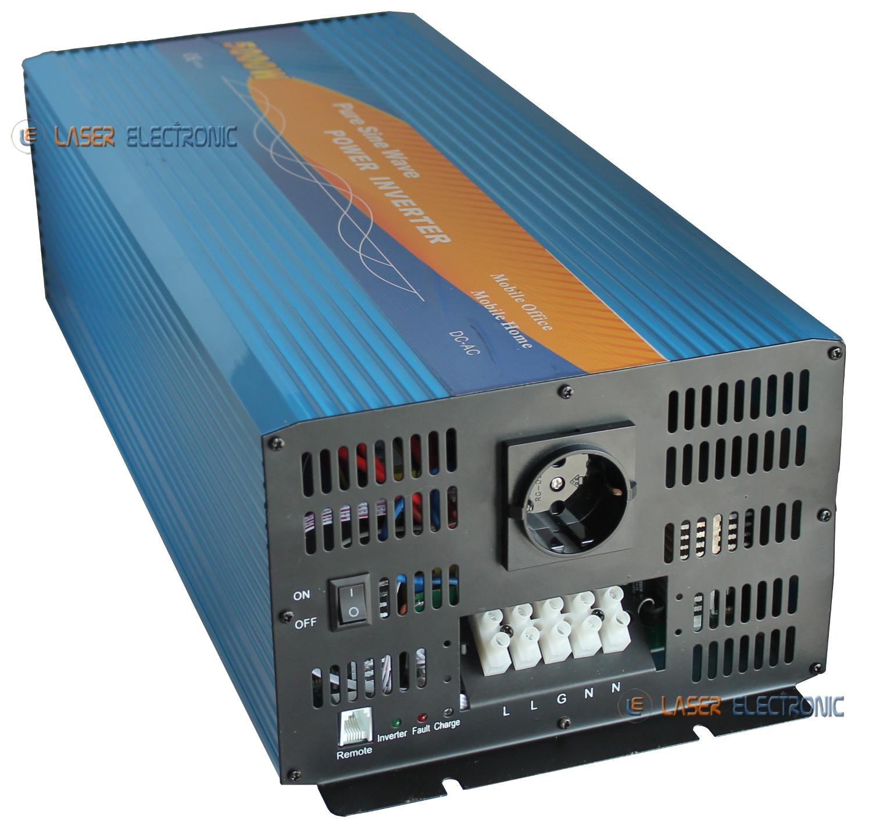 Inverter di Alimentazione per Auto da 5000 W DC 12V a AC Onda sinusoidale modificata con visualizzazione Dati Interfaccia USB Presa Universale Inverter B