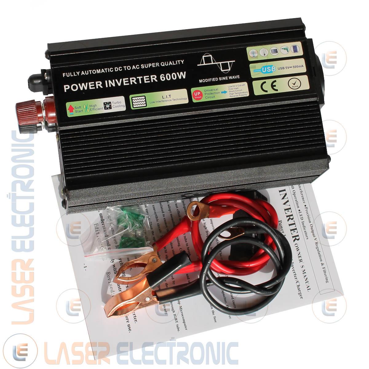 POWER INVERTER 600W ONDA SINUSOIDALE MODIFICATA DA 12V DC A 220-230V AC